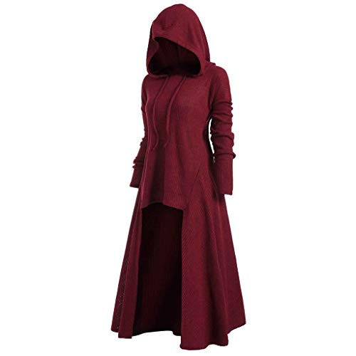 Womens Gothic Punk Asymmetric Hem Long Sleeve Loose Hoodies Dress Cloak Costumes Vintage High Low Sweatshirts Tunic Tops (Red, L)