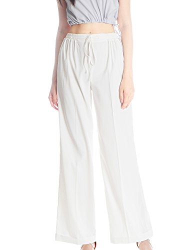 Vintage Silk Pajamas Pants Women Sleepwear Summer Slack (Large, White) (Silk Slacks)