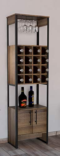 TUHOME Magnum Collection Free Standing Bar Cabinet/Wine Cabinet/Storage Cabinet with Steamware Wine Glass Rack 16 Wine Bottle Rack 2 Shelves and 1 Cabinet with Dark Weathered Oak ()