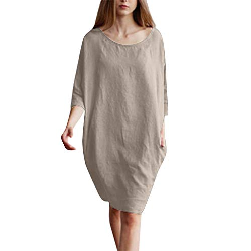 - QIQIU New Womens Cotton Linen 1/2 Sleeved Loose Pockets Casual Patchwork Tunic Fashion Summer Dress Khaki