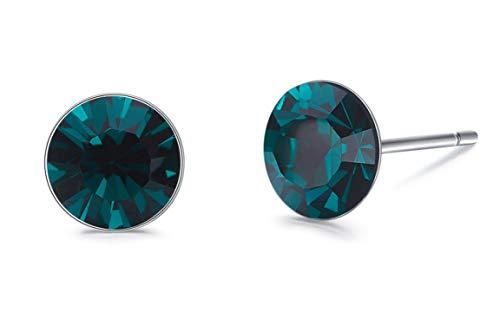 Gnzoe - Women Ladies 925 Sterling Silver Earrings Crystal Cz Stud Earrings Green