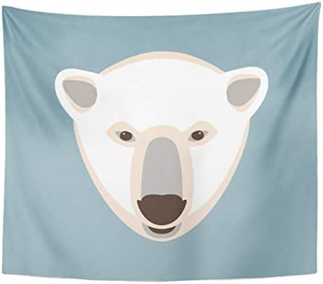 Tinmun Tapestry Aggression Polar Bear Head Flat Alaska Anger Angry Animal Wall Hanging for Living Room Bedroom Dorm 60x80 inches