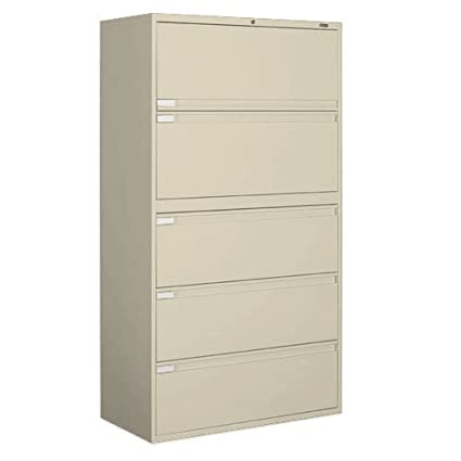 Superior Global Office 9300P 5 Drawer Lateral Metal File Storage Cabinet With Full  Length Pulls   Desert