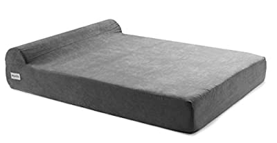 Large Orthopedic Pet Bed for Big Breed Dogs with Head Rest - Soft and Comfortable Memory Foam - Water Resistant - Removable Machine Washable Micro Suede Cover - by Petlo