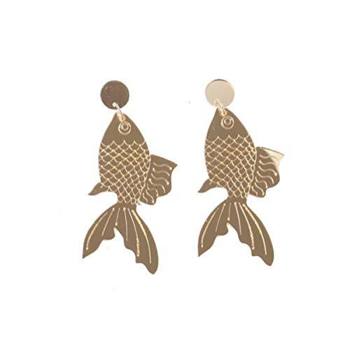 Hugdong Acrylic Fish Carp Earrings with Heart Jewelry Box,Fish Earrings for Women (Golden)