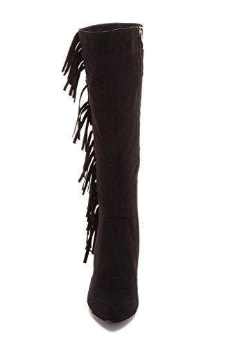 Bucco Eleonora Moda Donna Fringe Stiletto Stivali Nero