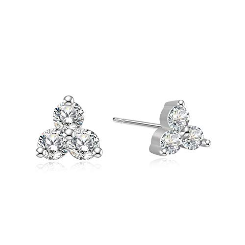 Earrings Diamond Cluster Silver (Simulated Diamond Cubic Zirconia Trio Stud Earrings - 925 Sterling Silver 3 Stone CZ Cluster Studs)