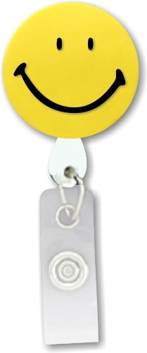 (Smiley Face 3D Rubber Retractable Badge Holder)