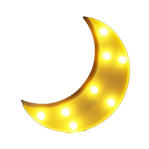Crescent Wall - Fy-light Decorative LED Crescent Moon Marquee Sign - MOON Marquee Letters LED Lights - Nursery Night Lamp GIFT for Children (Yellow)