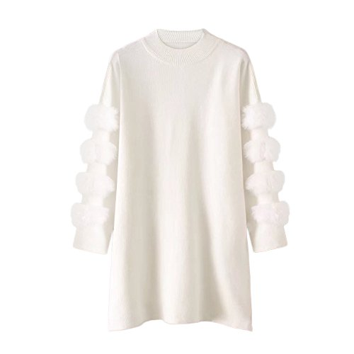 Price comparison product image Birdfly Fall Winter New Sweet Style Rabbit Hair Patchwork Sleeve Knit Blouse Sweater Free Size (One,  White)
