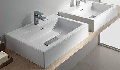 TEUCO WILMOTTE lavabo in ceramica cm 60 sospeso o da appoggio ...
