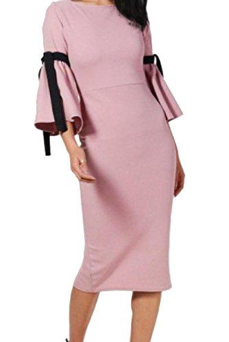 Manchon De Fusée De Mode Longueur Mi Womens Coolred Robe De Cocktail Solide Rose