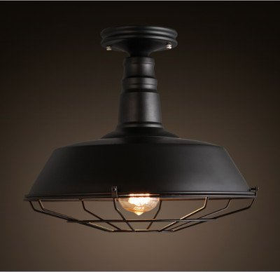 "Industrial Simple Mini Ceiling Light - LITFAD 14"" Vintage Antique Chandelier Pendant Lamp Edison Semi Flush Mounted Pendant Light Black"