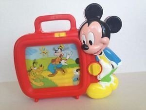 Vintage Mickey Mouse Musical TV Hand Wind Disney Music Box