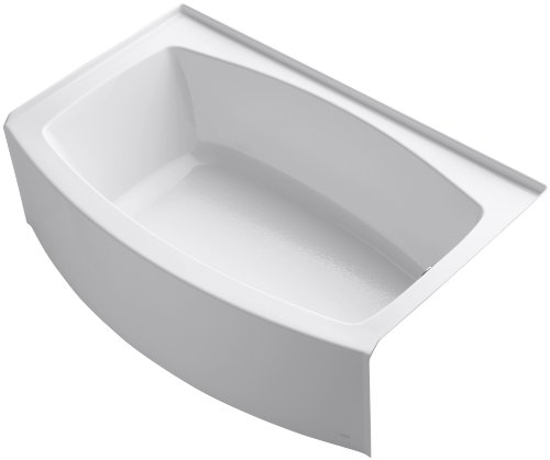 KOHLER K-1100-RA-0 Expanse Curved Integral Apron Bath with Right-Hand Drain, White