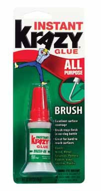 Instant Krazy Glue Brush Ceramic, Glass, Wood Leather, Rubber, Metal Bottle, Carded 5 ()