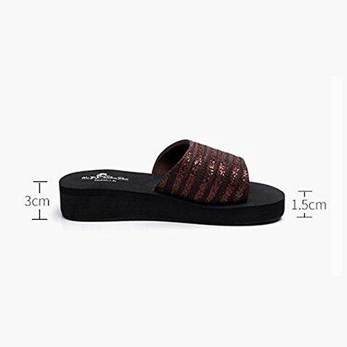 y Zapatos de para 18 verano playa FEI Mules con de suave años Color Informales Moda de negro mujer para antideslizantes Tamaño Zapatillas a Marrón ocio sandalias 40 Marrón fondo 40 Marrón Zapatillas xZnPnqWXO1