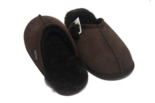 WOMENS/MENS LUXURY SHEEPSKIN MULE SLIPPER IN CHOCOLATE BROWN - UK SIZES 7/8 & 9/10 yTyDpWM6tM