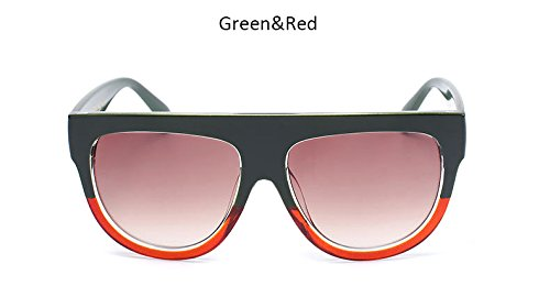 de ZHANGYUSEN remache Womenr sol Greenredbrown Bastidor hembra Vintage tonos de Gafas sobredimensionado Top UV400 grande Blueredgray Gafas Señoras Flat sol Moda de raqZrw
