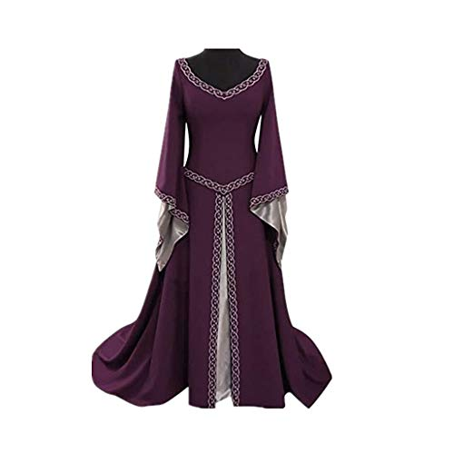 CCOOfhhc Vintage Dress-Women's Renaissance Medieval Dress Trumpet Sleeves Gothic Retro Gown Cosplay Halloween Costume for Women Purple -