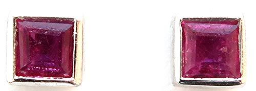 14k White Gold Genuine Ruby=.24ct Tiny Square Bezel Stud Earrings (Square Earrings Bezel)