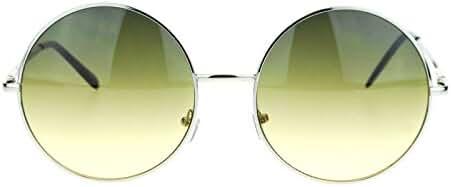 Hippie Retro Groovy Gradient Oversize Circle Lens Round Lennon Sunglasses