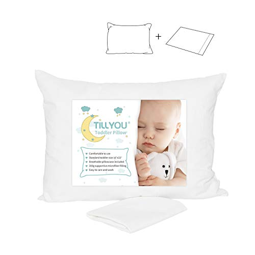 Toddler Pillow with Pillowcase - 100% Egyptian Cotton Baby Pillow for Sleeping - Machine Washable Kids Pillow for Preschool - Small Pillow for Toddler Nap Cot, Airplane Travel, Bed, Crib 14X19 White