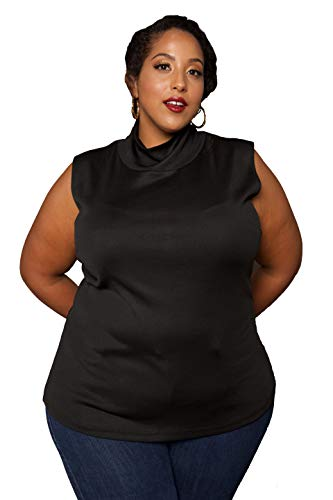 (Astra Signature Women's Plus Size Artemisia Turtleneck Top Soft Stretch Sleeveless Pullover Knit Sweater Vest)