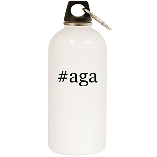 Molandra Products #aga - White Hashtag 20oz Stainless Steel Water Bottle with Carabiner