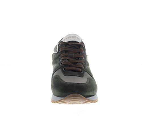 PA641 MULTIVERDE Scarpa uomo CafèNoir sneakers pelle e tessuto