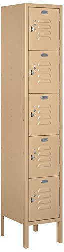 Steel Locker Standard (Salsbury Industries 65152TN-U Five Tier Box Style 12-Inch Wide 5-Feet High 12-Inch Deep Unassembled Standard Metal Locker, Tan Brown)