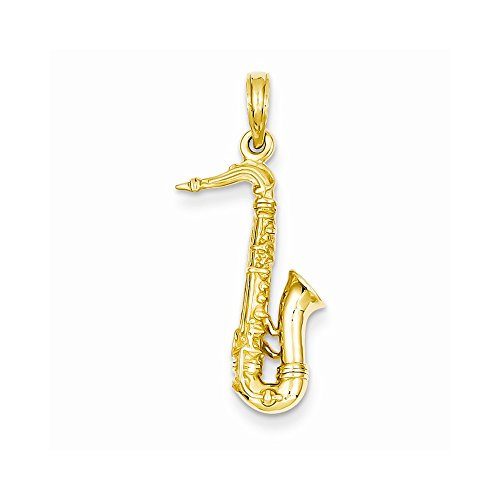 14k Yellow Gold Solid Polished 3-Dimensional Saxophone Charm by Nina's Jewelry Box