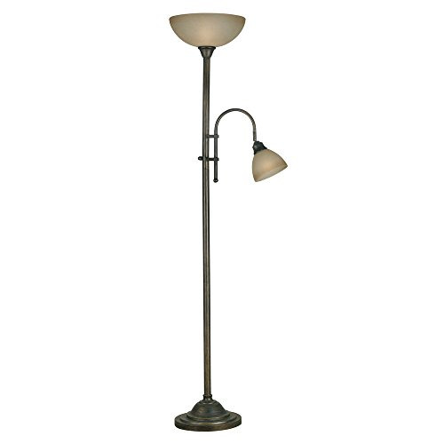 Best, Unique and Traditional 2 Light Burton Torchiere Tan Indoor Floor Lamp with Bronze Finish (For Living Room, Bedroom or Any Room) by Design Craft