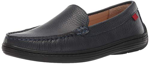 - Marc Joseph New York Unisex Genuine Leather Boys/Girls Casual Comfort Slip On Moccasin Venetian Loafer Driving Style, navy grainy 12.5 M US Little Kid
