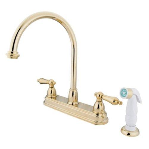 Kingston Brass KB3752AL Deck Mount Center Kitchen Faucet with Plastic Sprayer, 8-1 2 , Polished Brass