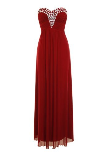 Maxi Collection Nazz Rot Donna Diamante Vestito dPtqtr