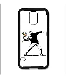 Pink Ladoo? Samsung Galaxy S5 Black Case - Banksy Throwing Flowers Street Art L.A. Los Angeles
