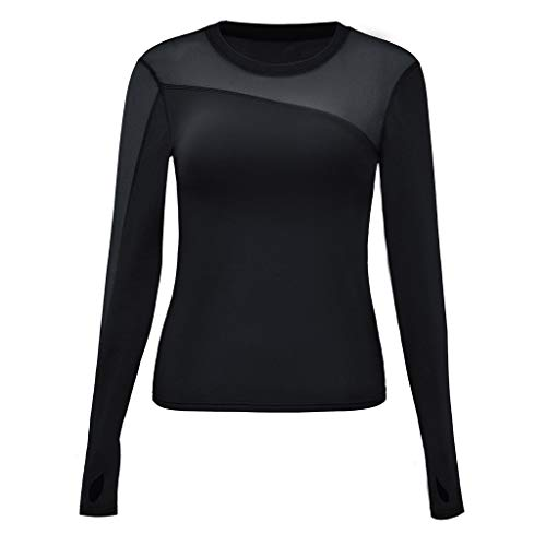 Womens Workout Tops Long Sleeve Quick Drying Compression Shirt Sexy Mesh Sport Running T-Shirt Slim Fit w/Thumbholes Black