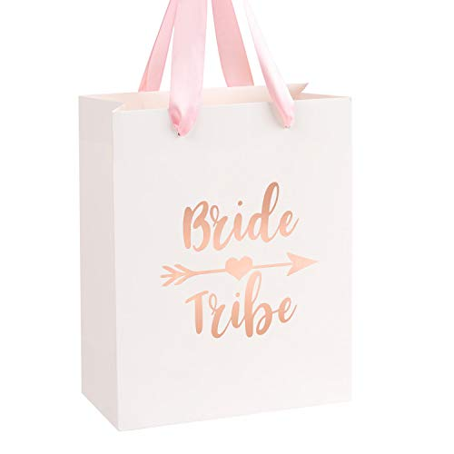 Crisky Bride Tribe Bags Bridesmaid Gift Bags Team Bride Bags Hangover Recovery Kit for Bachelorotte Bridal Shower Hen's Party Favors Wedding Decorations [ Pack of 12, Rose Gold Foil ] -