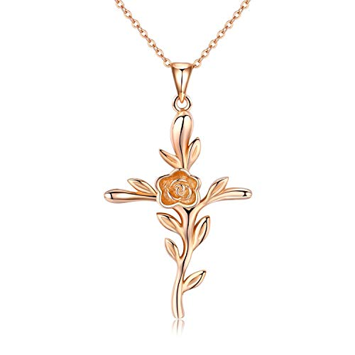 CUOKA MIRACLE Cross Necklace, Rose Flower Pendant Necklace Crucifix Necklace 18k Rose Gold Plated Religious Jewelry Gift for Women Men (Rose Gold)