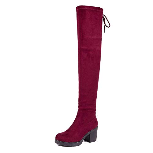 DREAM PAIRS Women's HI_Chunk Burgundy Over The Knee High Boots Size 11 B(M) US
