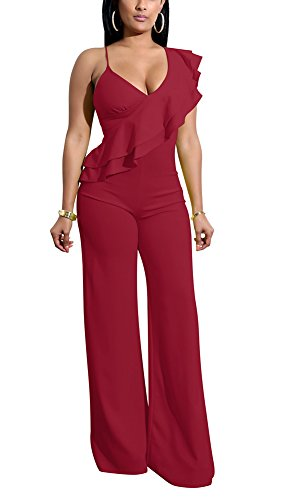 PrettySoul Women Spaghetti Strap V Neck Sleeveless Ruffle Peplum Wide Leg Long Pants Jumpsuit Romper Clubwear Wine Red, Medium by PrettySoul