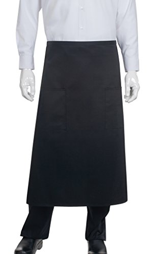Chef Works Unisex Two Pocket Bistro Apron, Black One Size ()