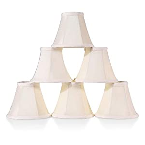 """Wellmet Lamp Shades, Hardware Clip on Bell Lamp Shades, Fabric Faux Silk Cream Soft Bell Shades for Drop-Light, Wall Lamp, Candle Chandelier Lamp, 3"""" X 6"""" X 5"""", 6 pcs Set"""