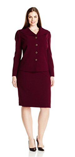 Tahari ASL Women's Plus-Size Whitney Skirt Suit, Wine, 22W