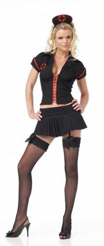 Leg Avenue Womens 'Gothic Nurse' Halloween Costume, Black/Red, M