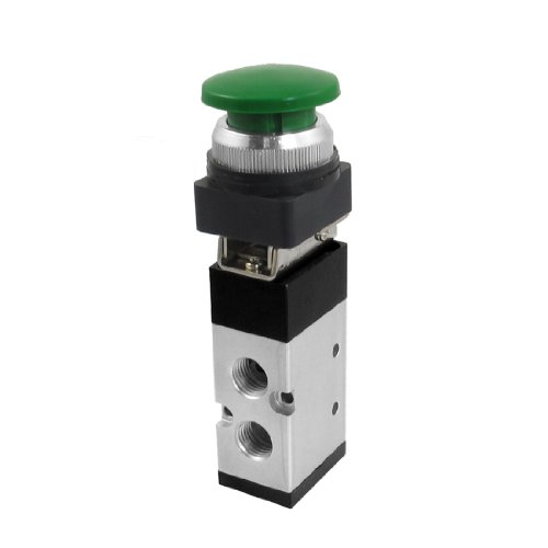 uxcell MV522PB 12mm Thread Input 2/5 Way Green Mushroom Button Air Mechanical Valve by uxcell