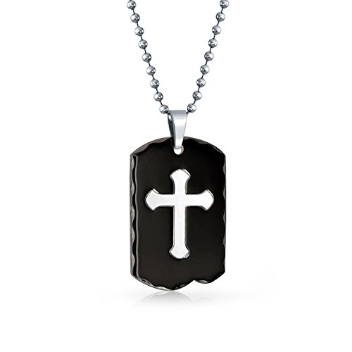 - Bling Jewelry Engravable Two Tone Carved Edge Black Cross Dog Tag Pendant Necklace for Men for Teen IP Plate Stainless Steel