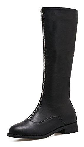 Schwarz Damen Stiefel Klassisch Boots Langschaft Kunstleder Aisun Zehen Runde Reißverschluss Biker Blockabsatz qO4n6Pxw
