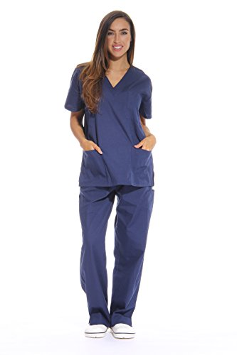 Just Love Women's Scrub Sets Six Pocket Medical Scrubs (V-Neck With Cargo Pant), Navy, Small -